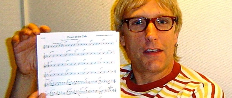 Will Lee in the studio with the scores to Down at the cafe by Soren Reiff